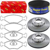Kit pastilha freio + par disco freio dianteiro - siena 2000 á 2009 - kit00829