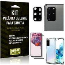 Kit Película de Câmera Galaxy S20 Plus + Película 3D + Capa Anti Impacto - Armyshield