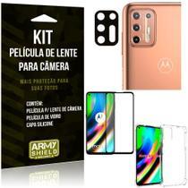 Kit Película de Câmera Moto G9 Plus + Película 3D + Capa Anti Impacto - Armyshield
