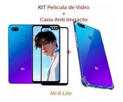 Kit Película Vidro 3D Temperado + Capa Anti Impacto Transparente Mi 8 Lite