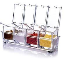 Kit Porta Temperos E Condimentos Açucareiro Saleiro Em Acrilico 4 Potes Com Colher Para Cozinha