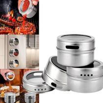 Kit Porta Temperos E Condimentos Açucareiro Saleiro Em Inox 3 Potes Magnéticos Para Cozinha