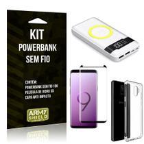 Kit Powerbank Sem Fio 10.000mAh Galaxy S9 + Capa Anti Impacto + Película Vidro 3D - Armyshield