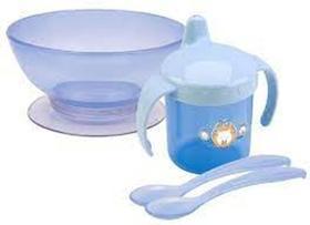 Kit Refeição Infantil Bebê Com Caneca Filhotes Petita Azul