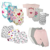 Kit Roupa de Bebê 12 Peças Enxoval Verão Body Mijão Shorts