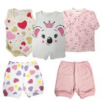 Kit Roupa de Bebê 5 Pçs Camiseta Body Short e Macacão Regata