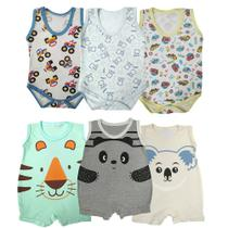 Kit Roupinha de Bebê 6 Peças Macacão e Body Regata Estampado