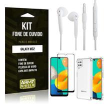 Kit Samsung M32 Fone de Ouvido + Capa Anti Impacto + Película Vidro 3D - Armyshield