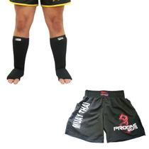 Kit Short Masculino + Caneleira Pé Combate Muay Thai MMA Box