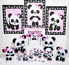 Kit Só Um Bolinho Panda Rosa Decoração Festa Em Casa M
