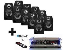 Kit Som Ambiente 10 Caixas Pretas + Amplificador Bluetooth