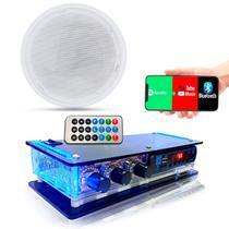 Kit Som Ambiente Amplificador Bluetooth + Caixa Embutir Teto