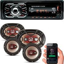 Kit Som Carro Rádio Mp3 Bluetooth Usb + Auto Falante 6 + 6x9