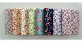 Kit Tecido Tricoline 8 Estampas Floral 40x75cm 100% Algodão