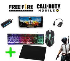 Kit Teclado E Mouse Gamer Kit Cel Mobilador + Mouse Pad PUBG