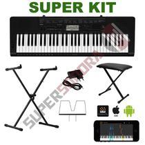 Kit Teclado Musical CASIO CTK3500 MIDI/USB Aplicativo Chordana + Suporte X + Banqueta + Fonte