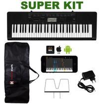 Kit Teclado Musical CASIO CTK3500 USB/MIDI Aplicativo Chordana + Capa + Fonte + Suporte Partitura