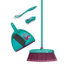 Kit Vassoura Pá e Escovas Verde Conjunto de Limpeza 5 peças