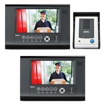 Kit Vídeo Porteiro HDL 2 Pontos Seven S Interfone Com Câmera Infra Visão Noturna 3m Função Siga-me