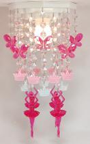 Lustre Luminária Decoração Tema Infantil Quarto de Menina Bailarinas Rosa