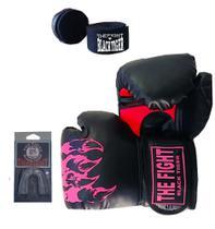 Luva Boxe Muay Thai+bucal+bandagem