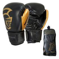 Luva de Boxe Muay Thai Pretorian Black Line Gold 14 OZ