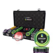 Maleta de Poker 300 Fichas em Cerâmica 10gr Personalizadas BSOP com Botão Dealer e Allin - Torneio
