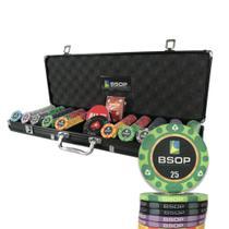 Maleta de Poker 500 Fichas em Cerâmica 10gr Personalizadas BSOP com Botão Dealer e Allin - Torneio