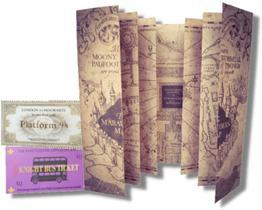 Mapa do Maroto Harry Potter + Tickets Knight Bus & Plataforma 9 3/4
