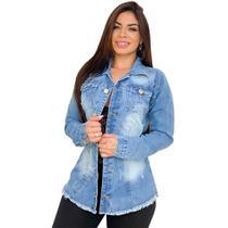 Max Jaqueta Jeans Feminina Destroyed - EWF Jeans - Azul Claro