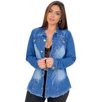Max Jaqueta Jeans Feminina Destroyed - EWF Jeans - Azul Escuro