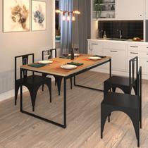 Mesa Madeira Retangular Sala de Jantar Cozinha 4 Lugares Industrial Metal 160x90cm