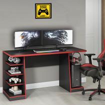Mesa para Computador / Gamer XP Vermelho 135x60cm com 6 Prateleiras e Gancho para HeadSet