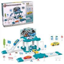 Monta monta garage / estacionamento racing com carro + acessorios 40 pecas wellkids