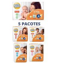 Oferta Kit C/5 Pacotes Fraldas Pompom P M G Xg Jumbo Protek