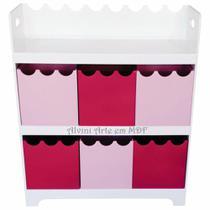 Organizador de Brinquedos 6 Caixas Onduladas Rosa e Pink