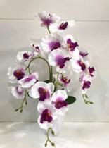 Orquídea Artificial Bca C/ Lilás (arranjo Montado Com Vaso)