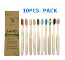 Pack De 10 Escovas De Dente Ecológica Em Bambu Coloridas
