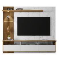 Painel com LED para TV até 60 Polegadas Trend Branco Marmorizado Ripado - Móveis Bechara