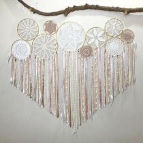 Painel de filtro dos sonhos/mandala em croche com 10 aros