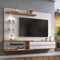 Painel para TV 60 Polegadas 1,80m Off White / Freijó Trend com Lampada LED