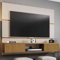 Painel Para Tv 65 Polegadas 2 Portas âmbar Off White/cinamomo/ripado - Móveis Bechara