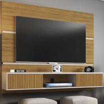 Painel Para Tv 65 Polegadas 2 Portas Basculantes âmbar Cinamomo/off White/ripado - Móveis Bechara