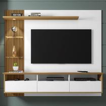 Painel Para Tv Até 60 Polegadas Trend 3 Portas Branco/cinamomo/ripado - Móveis Bechara