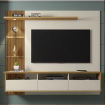 Painel Para Tv Até 60 Polegadas Trend 3 Portas Off White/cinamomo/ripado - Móveis Bechara