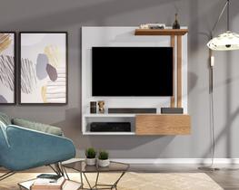 Painel Sala Para TV Até 32 Polegadas Paris - Branco com Nature - Lojas GD