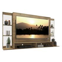 """Painel TV 60"""" c/ Suporte, Espelho e Prateleiras de Vidro Nairóbi Multimóveis Rustic"""