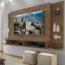 """Painel TV até 60"""" com prateleiras de vidro Nairóbi Multimóveis Madeirado"""