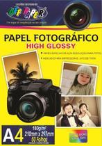 Papel Foto Fotográfico Brilhante 180g - 50 Folhas A4 - 210x297mm