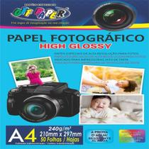Papel Foto Fotográfico Brilhante 240g - 50 Folhas A4 - 210x297mm
